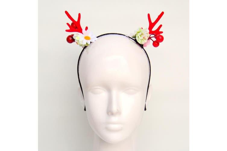 Christmas Xmas Headband Hat Costume Hair Clip Bear Snowman Gift Adult Kids Toys - Reindeer Antlers w Flowers (Red)