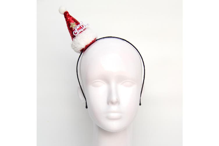 Christmas Xmas Headband Hat Costume Hair Clip Bear Snowman Gift Adult Kids Toys - Santa Hat