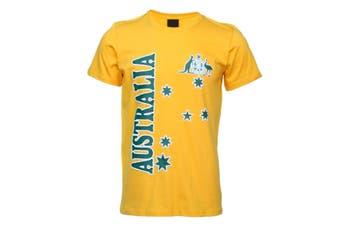 Unisex Adults Kids Mens Womens Australian Day Aussie Souvenir Tee Tops T Shirt - Gold (Size:2)
