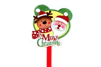 Merry Christmas Glitter Santa Signs Spikes Plaque Xmas Tree Ornaments Decoration - Santa w Reindeer