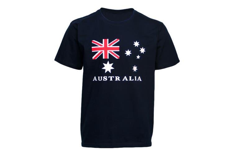 Unisex Kids Adults Mens Australian Day Aussie Flag Navy Souvenir Tee Top T Shirt - Navy (Size:10)