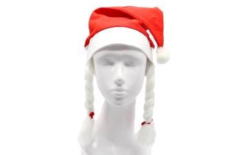 Christmas Unisex Adults Kids Novelty Hat Xmas Party Cap Santa Costume Dress Up - Santa Hat w Braids