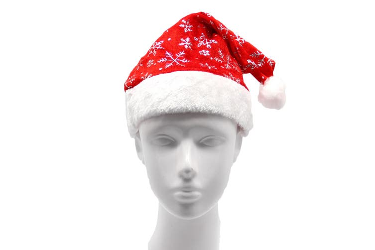 Christmas Unisex Adults Kids Novelty Hat Xmas Party Cap Santa Costume Dress Up - Santa Hat w Snowflakes