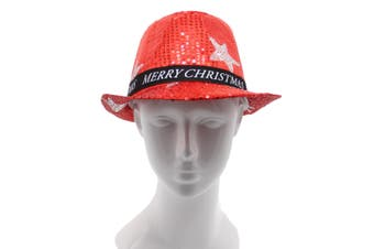 Christmas Unisex Adults Kids Novelty Hat Xmas Party Cap Santa Costume Dress Up - Sequin Fedora