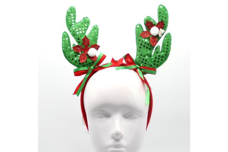 Christmas Xmas Headband Hat Costume Hair Clip Bear Snowman Gift Adult Kids Toys - Reindeer Antlers (Green)