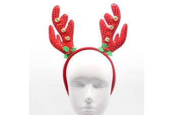 Christmas Xmas Headband Hat Costume Hair Clip Bear Snowman Gift Adult Kids Toys - Reindeer Antlers w Bell