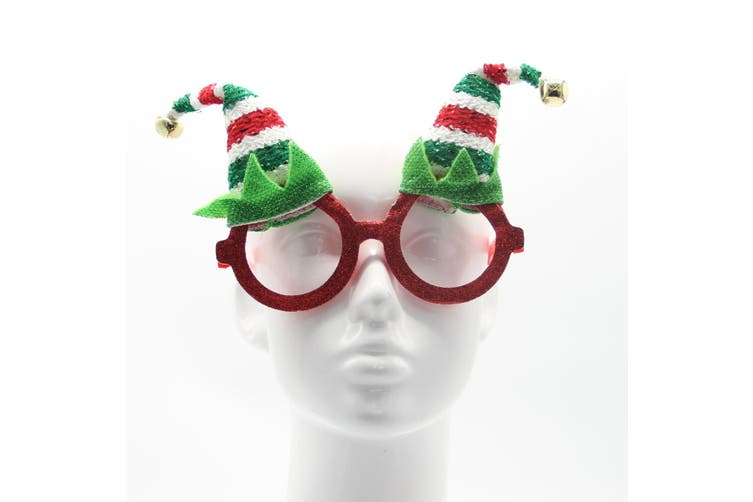 Christmas Glasses Xmas Party Accessories Photo Booth Props Costume Fancy Dress - Elf Hat w Bell