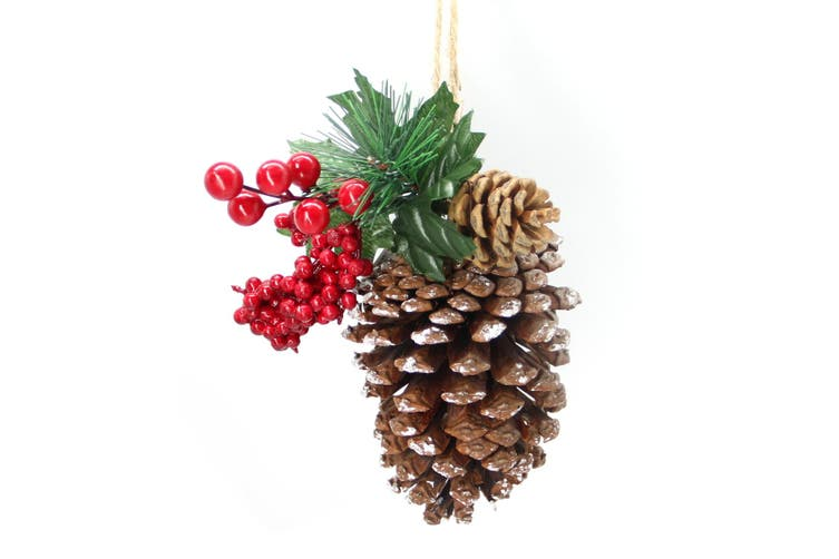 2x Christmas Hanging Snow Pine Cones w Red Berries Leaves Natural Craft Decor