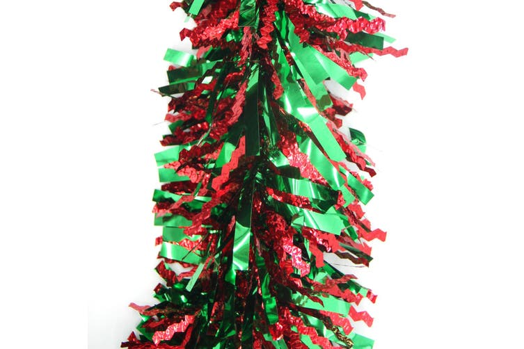 5x 2.5m Christmas Tinsel Xmas Garland Sparkly Snowflake Party Natural Home Décor - Crinkle Cut (Red Green)