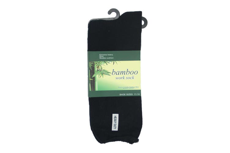 6 Pairs Men's Thick Bamboo Heavy Duty Work Tough Socks Warm Thermal Hiking Camp - Black (Size:6-11)