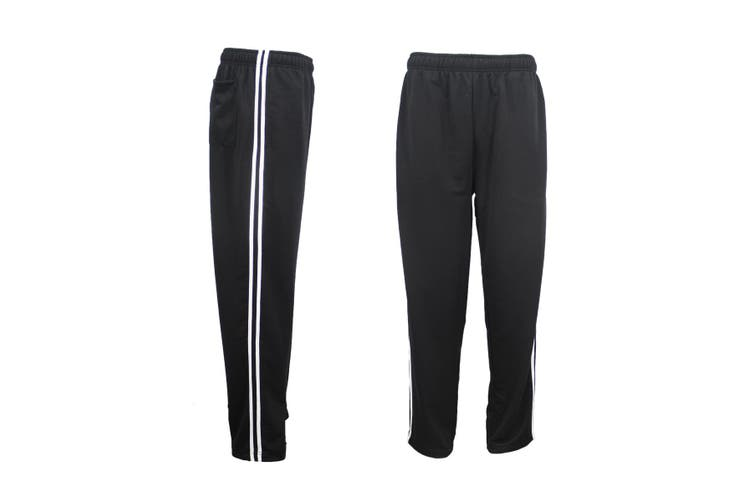 New Mens Plain Trousers Track Sweat Pants Suit Gym Jogging Casual Sport Trackies - Black (Size:XL)