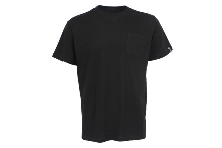 100% Cotton Mens Womens Unisex Adults Plain Basic T Tee Shirt Top w Chest Pocket - Black (Size:S)