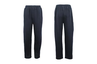 Mens Regular Fit Drawstring Sweat Pants Track Suit Sports Casual Trousers Jogger - Navy (Size:S)