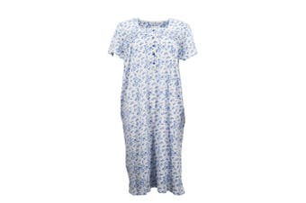 Women's 100% Cotton Short Sleeve Nightie Gown Night Sleepwear PJ Pyjamas Pajamas - Blue (B) (Size:S)