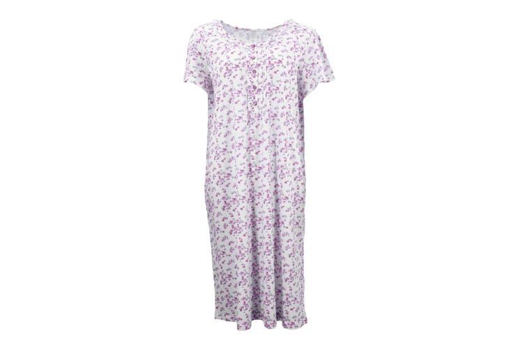 Women's 100% Cotton Short Sleeve Nightie Gown Night Sleepwear PJ Pyjamas Pajamas - Pink (B) (Size:L)