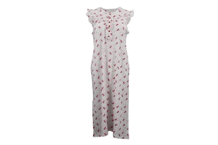 Women's 100% Cotton Sleeveless Sleepwear Pajamas Lace Night Gown Nightie Pyjamas - Red (B) (Size:XS)