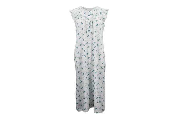 Women's 100% Cotton Sleeveless Sleepwear Pajamas Lace Night Gown Nightie Pyjamas - Teal (Size:XS)