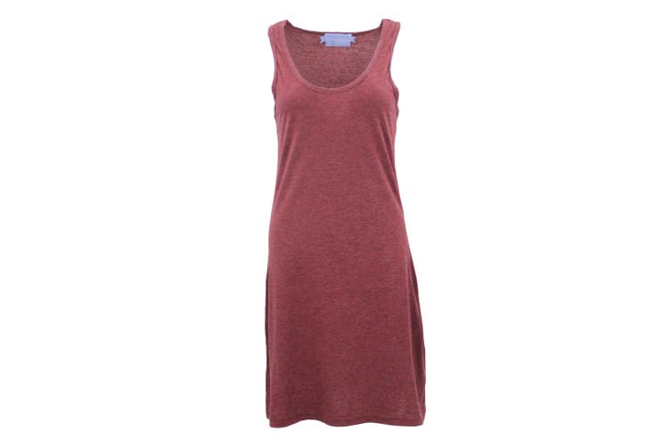 Womens Sleeveless Blouse Singlet Vest Tank Dress Tops T Shirt Summer Casual Wear - Burgundy (Size:M)