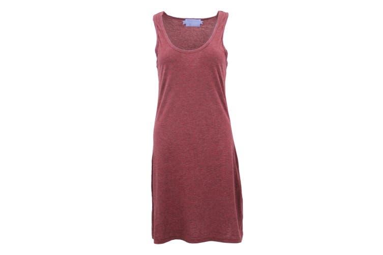 Womens Sleeveless Blouse Singlet Vest Tank Dress Tops T Shirt Summer Casual Wear - Burgundy (Size:L)