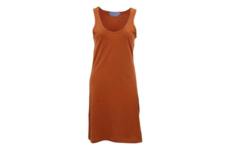 Womens Sleeveless Blouse Singlet Vest Tank Dress Tops T Shirt Summer Casual Wear - Orange (Size:S)
