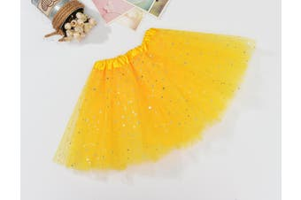 Sequin Tulle Tutu Skirt Ballet Kids Princess Dressup Party Baby Girls Dance Wear - Yellow (Size:Kids)