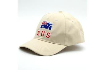 Adult Mens Womens Australia Day Australian Flag Souvenir Cotton Baseball Cap Hat - Flag_Cream