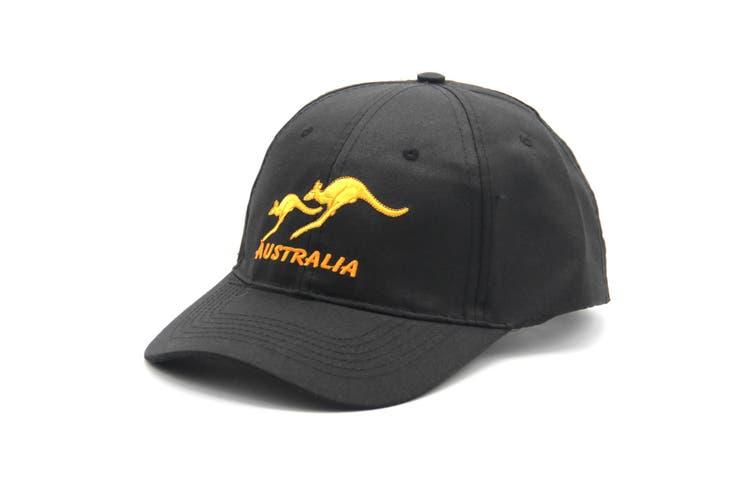 Adult Mens Womens Australia Day Australian Flag Souvenir Cotton Baseball Cap Hat - Kangaroo_Black
