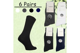 6 Pairs Mens Womens Soft Natural Bamboo Work Business Socks Odor Sweat Resistant - Mixed Colour (Size:11-14)