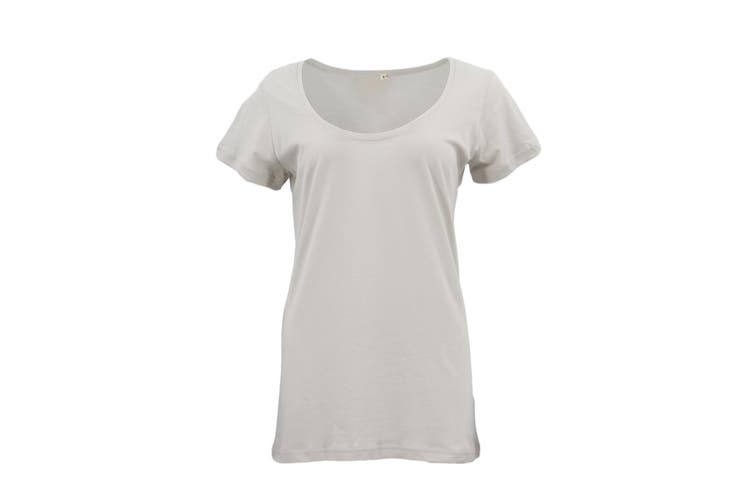 New Women's Plain Longline T Shirt Basic Crew V Neck Short Sleeve Tee Tops Dress - Beige (Size:L)