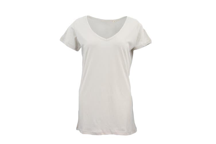 New Women's Plain Longline T Shirt Basic Crew V Neck Short Sleeve Tee Tops Dress - Beige (V Neck) (Size:S)