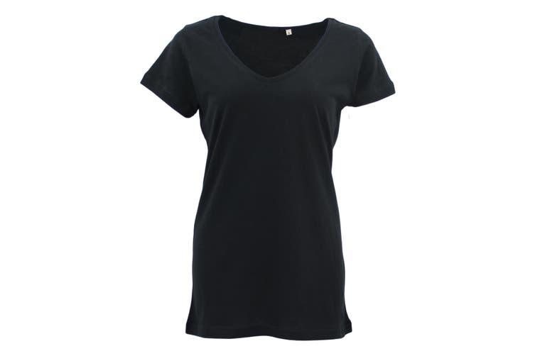 New Women's Plain Longline T Shirt Basic Crew V Neck Short Sleeve Tee Tops Dress - Black (V Neck) (Size:S)