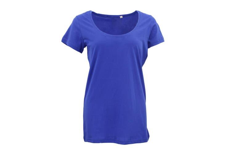 New Women's Plain Longline T Shirt Basic Crew V Neck Short Sleeve Tee Tops Dress - Blue (Size:M)