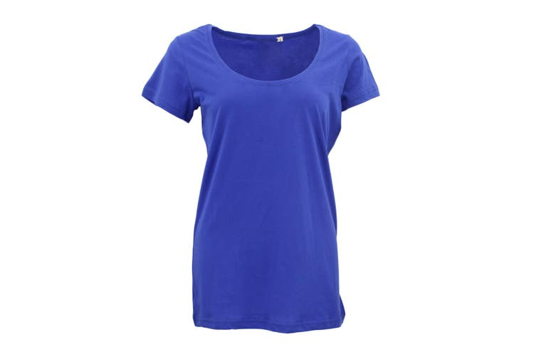 New Women's Plain Longline T Shirt Basic Crew V Neck Short Sleeve Tee Tops Dress - Blue (Size:L)