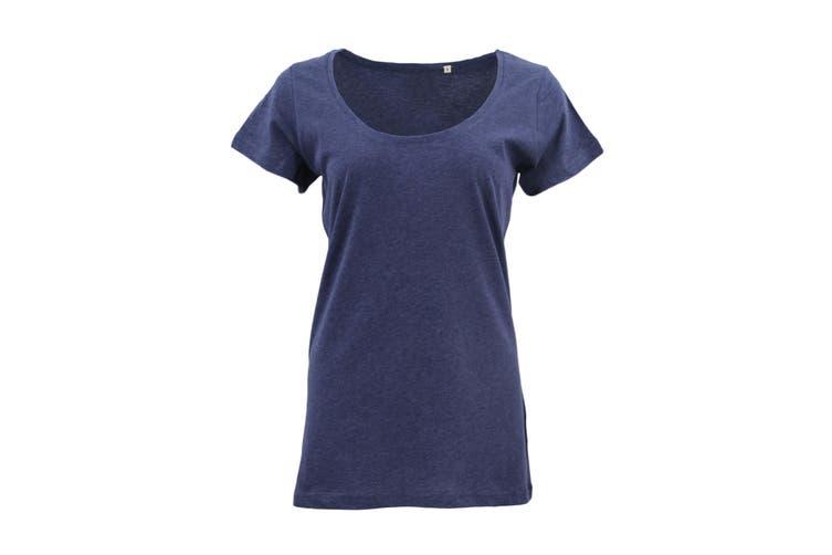 New Women's Plain Longline T Shirt Basic Crew V Neck Short Sleeve Tee Tops Dress - Navy (Size:L)