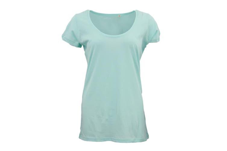 New Women's Plain Longline T Shirt Basic Crew V Neck Short Sleeve Tee Tops Dress - Teal (Size:L)