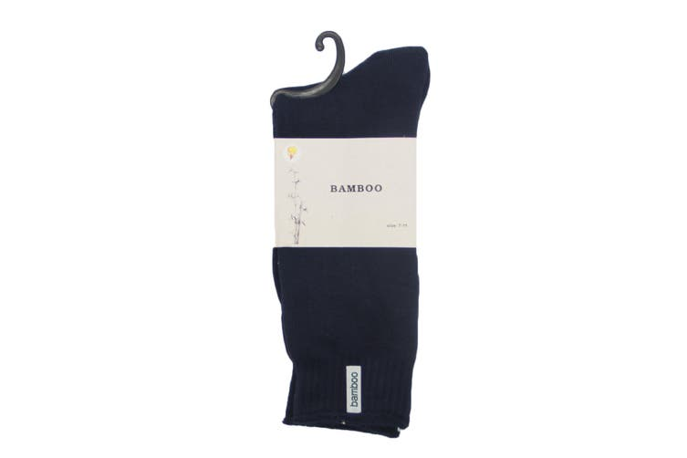 6 Pairs Bamboo Thick Premium Work Socks Tough Heavy Duty Thermal Odor Resistant - Navy (Size:7-11)