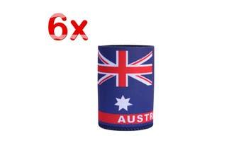 6x Australia Stubby Stubbie Holder Beer Bottle Tin Can Drink Alcohol Cooler Gift - Australia Flag