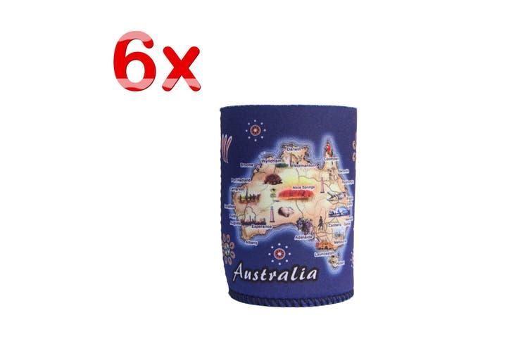 6x Australia Stubby Stubbie Holder Beer Bottle Tin Can Drink Alcohol Cooler Gift - Australia Map