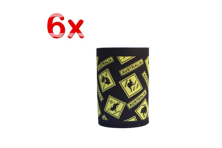 6x Australia Stubby Stubbie Holder Beer Bottle Tin Can Drink Alcohol Cooler Gift - Road Sign