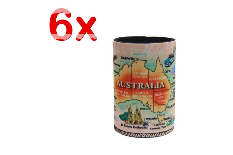 6x Australia Stubby Stubbie Holder Beer Bottle Tin Can Drink Alcohol Cooler Gift - Australia Map B