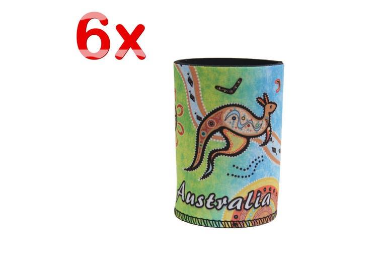 6x Australia Stubby Stubbie Holder Beer Bottle Tin Can Drink Alcohol Cooler Gift - Kangaroo