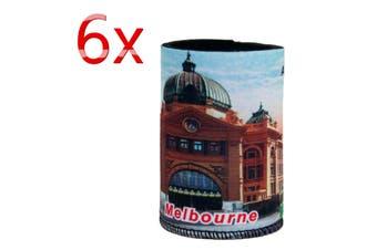 6x Australia Stubby Stubbie Holder Beer Bottle Tin Can Drink Alcohol Cooler Gift - Melbourne