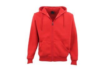 Adult Unisex Plain Fleece Hoodie Hooded Jacket Men's Zip Up Sweatshirt Jumper - Red (Size:S)