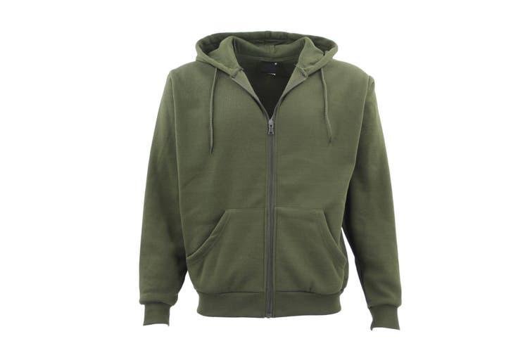 Adult Unisex Plain Fleece Hoodie Hooded Jacket Men's Zip Up Sweatshirt Jumper - Olive (Size:S)