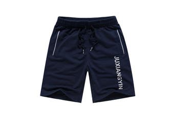 Men's Gym Casual Sports Jogging Basketball Swim Shorts Pants Drawstring Pockets - Navy (Size:XL)