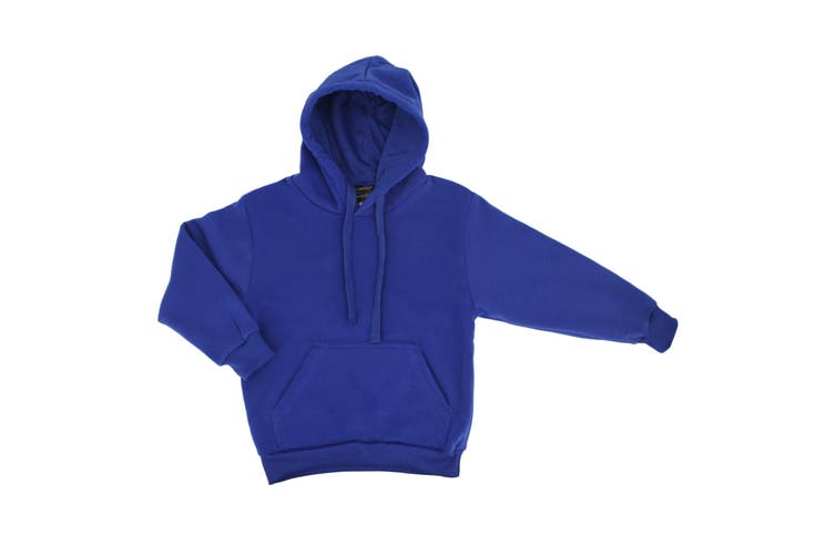 Kids Unisex Basic Pullover Hoodie Jumper School Uniform Plain Casual Sweat Shirt - Royal Blue (Size:2)