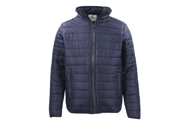 New Men's Water Resistant Windproof Lightweight Puffer Puffy Jacket Quilted Coat (Size:S (Navy))