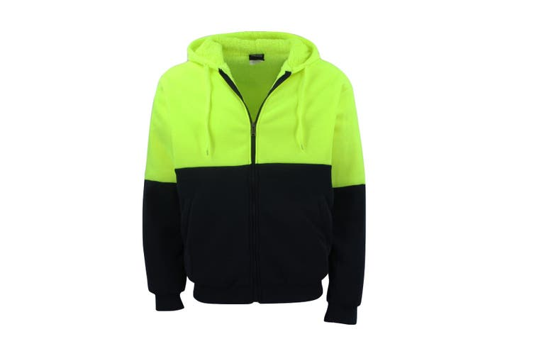 HI VIS Safety Full Zip Thick Sherpa Fleece Hoodie Workwear Jacket Jumper Winter - Fluro Yellow / Navy (Size:L)