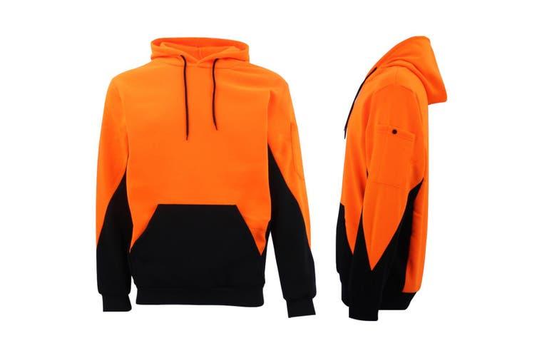 HI VIS Safety Fleece Pull Over Hoodie Jumper Jacket Workwear Kangaroo Pen Pocket - Fluro Orange / Navy (Size:2XL)