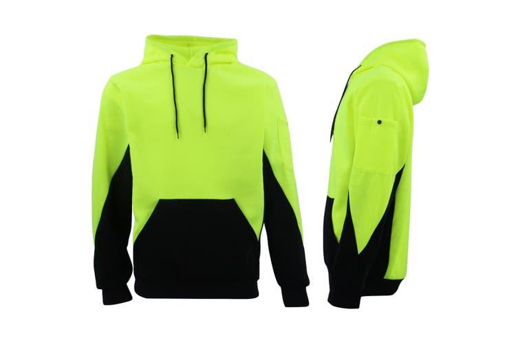 HI VIS Safety Fleece Pull Over Hoodie Jumper Jacket Workwear Kangaroo Pen Pocket - Fluro Yellow / Navy (Size:S)